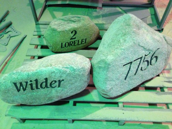 Custome engraving and logos, decorative rocks, milford, cincinnati, loveland, ohio