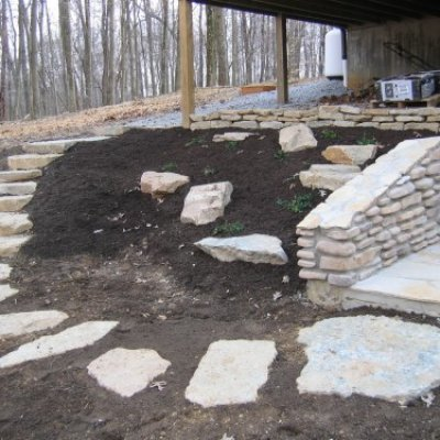 Stepping Stones & Retaining Wall