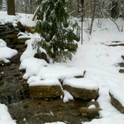 Pondless waterfall after a snow