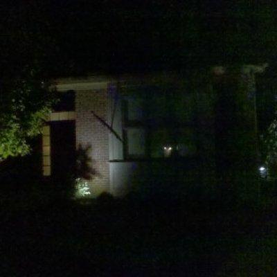 LED Spot lights illuminating landscape and home