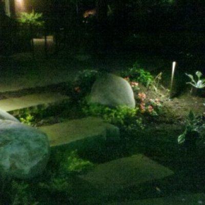 LED Path lights illuminate steps at night