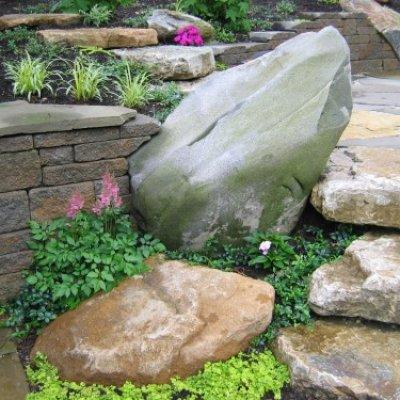 Wall built into 1 ton Granite Boulder