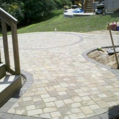 Custom circle kit cut and set into patio