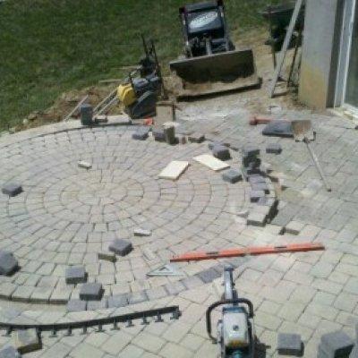 Custom circle kit cut and set into patio