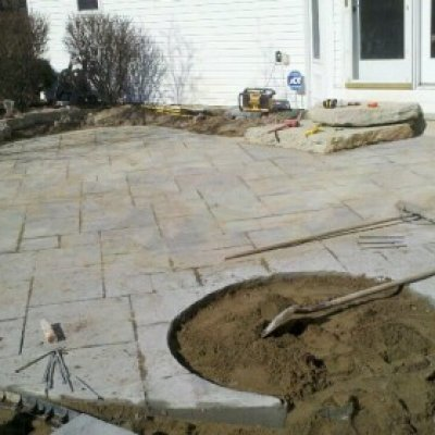 Before Flagstone patio