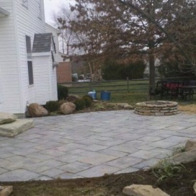 Blue Flagstone patio, Natural stone steps and fire pit