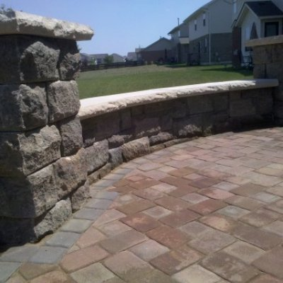Bellwood Seat Wall and Pillars. Custom Outdoor Living Space