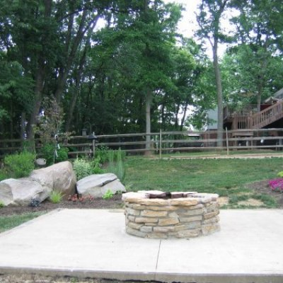 Stone Fire Pit & Landscaping Boulders