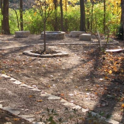 Stone Fire Pit and Walkway