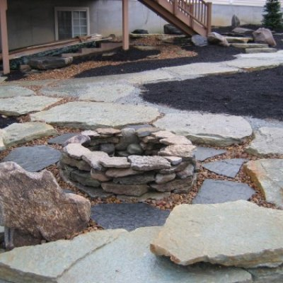 Stone Fire Pit & Pathways