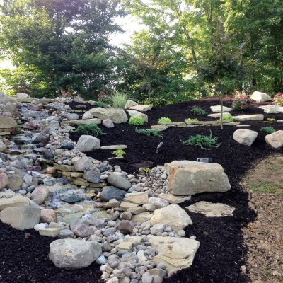 Custom Waterfall With Landscape Design