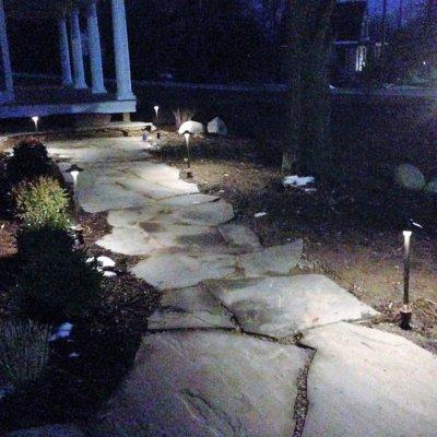 LED Lighting With Illregular Pennsylvania Blue Flagstone Walkway