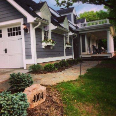 Landscape Design With Illregular Pennsylvania Blue Flagstone Custom Address Rock