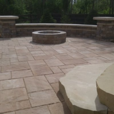 Stone Steps, Fire Pit, Paver Patio with Seat Wall