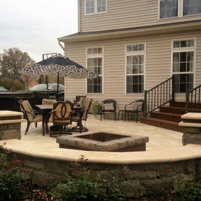 Travertine Patio Bellwood Wall With Cordovan Banding Travertine Caps Custom Firepit