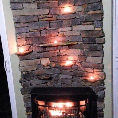Custom Interior Stone Fireplace