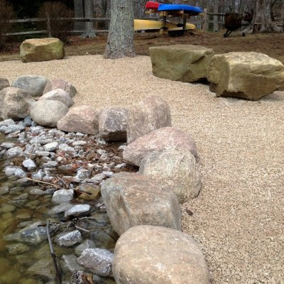 Brassfield Gravel Patio Custom Boulder Firepit