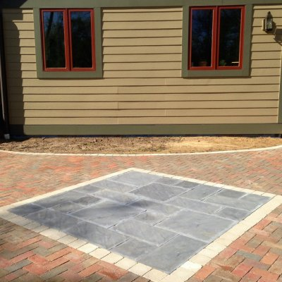 Brick Patio Custom Slate Inlay Ivory Border