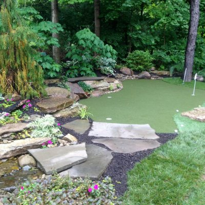 Landscape Design With Custom Putting Green