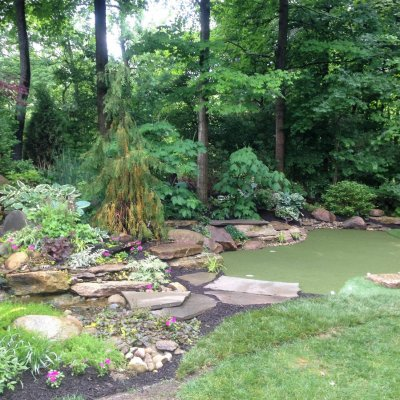 Custom Putting Green With Landscape Desgin and Water Feature
