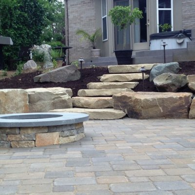 Concourse Pavor Patio Natrual Sandstone Steps Custom Firepit Pennsylvania Blue Caps