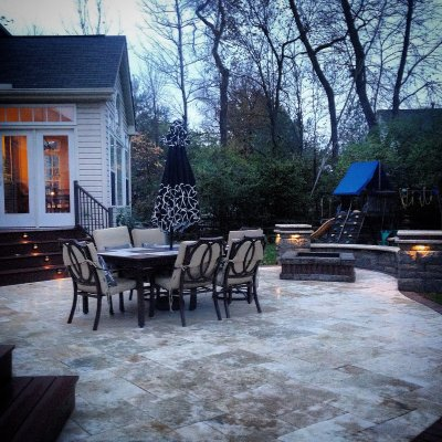 Travertine Patio Bellwood Wall With Cordovan Banding Travertine Caps Custom Firepit Led Lighting