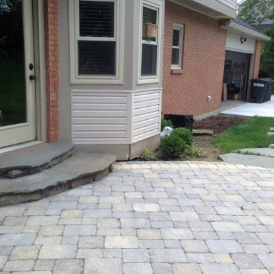 Coldstream Patio Bellwood Steps Illregular Pennsylvania Blue Flagstone Caps