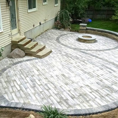 Paver patio, stone steps, firepit