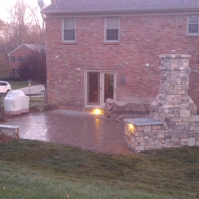 Custom Outdoor Space: Paver Patio, Seatwall, Fireplace