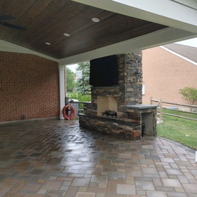 Fireplace with mounted TV