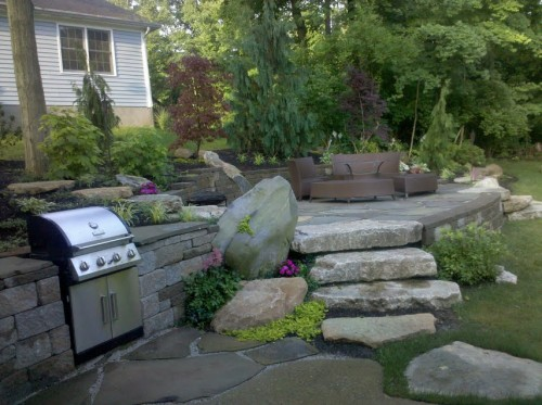 Outdoor Living space, fireplace, firepit, fountain, waterscape, waterfall